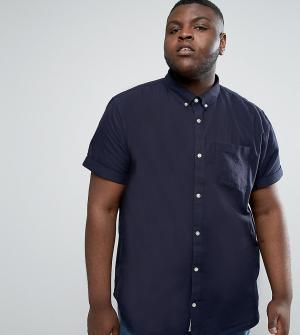 River Island Темно-синяя оксфордская рубашка с короткими рукавами Big. Цвет: темно-синий