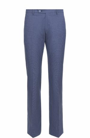 Хлопковые брюки прямого кроя с принтом Berwich. Цвет: синий