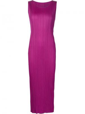Плиссированное платье без рукавов Pleats Please By Issey Miyake. Цвет: розовый и фиолетовый
