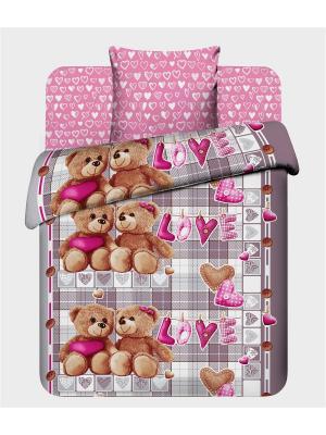 Комплект постельного белья для детей из бязи 1,5 спальный Василек. Цвет: розовый, серый