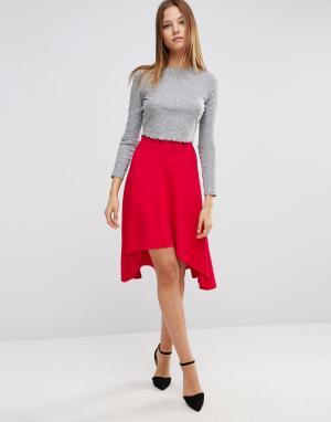 ASOS Расклешенная юбка миди асимметричной длины. Цвет: розовый