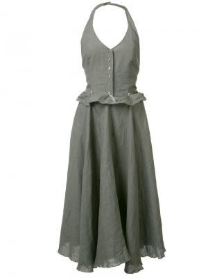 Расклешенное платье с оборками Ma+. Цвет: серый