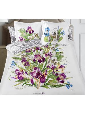 Комплект постельного белья SergLook Евро Iris Mona Liza. Цвет: белый, зеленый, сиреневый