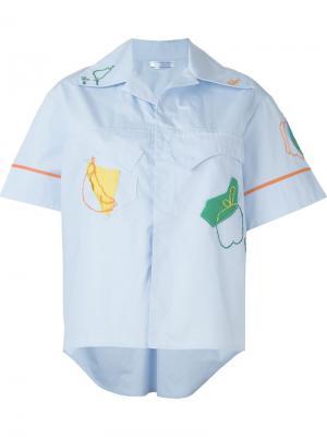 Рубашка с короткими рукавами Richard Malone. Цвет: синий