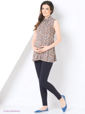 Блузка для беременных 40 недель. Цвет: коричневый