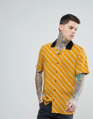 ASOS Черная рубашка в полоску с отложным воротником. Цвет: желтый