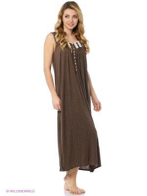 Ночная сорочка Eileen West. Цвет: темно-коричневый, серый, антрацитовый