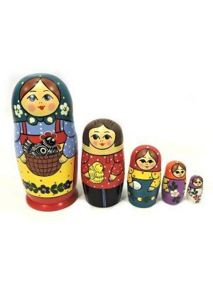 Матрешка Загорская с корзнкой 5 кукольная Taowa. Цвет: синий, красный