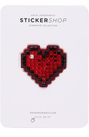 Стикер Heart Diamante из замши Anya Hindmarch. Цвет: красный