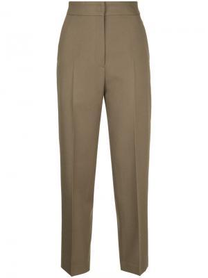 Укороченные брюки с высокой талией H Beauty&Youth. Цвет: зелёный