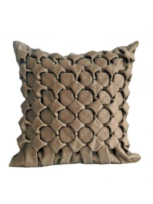 Декоративная подушка Бежевые шахматы LACCOM. Цвет: бежевый