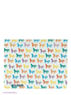 Чехол для IPad, Цветные лошадки Арт. IP-31 Mitya Veselkov. Цвет: белый, желтый, синий