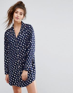Chelsea Peers Ночная рубашка с принтом дельфинов. Цвет: мульти