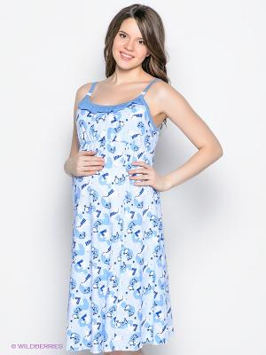 Сорочка для беременных и кормящих ФЭСТ. Цвет: голубой, белый