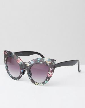 Jeepers Peepers Солнцезащитные oversize-очки в кошачьей оправе с цветочным принтом Jee. Цвет: мульти