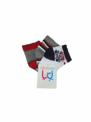 Носки детские, 3 пары PERA MAYA. Цвет: белый, серый
