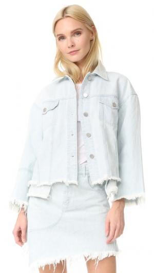 Яркий джинсовый жакет Sandy Liang. Цвет: легкая затертость