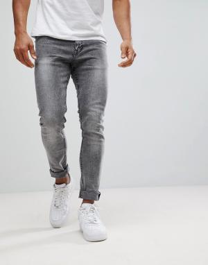 New Look Черные обтягивающие джинсы с эффектом кислотной стирки. Цвет: черный