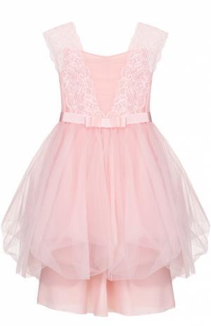 Платье с пышной юбкой и кружевной отделкой Aletta. Цвет: розовый