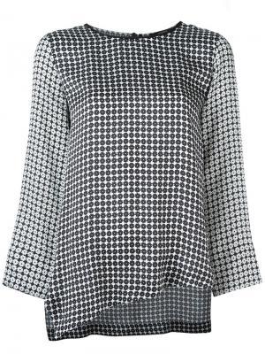 Асимметричная блузка Odeeh. Цвет: чёрный