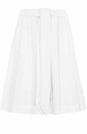 Кружевная юбка-миди с поясом Lisa Marie Fernandez. Цвет: белый
