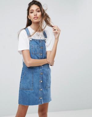 ASOS Джинсовое выбеленное платье мини на пуговицах. Цвет: синий