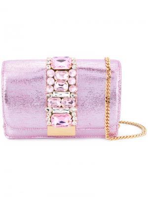 Сумка на плечо Cliky с украшением из кристаллов Gedebe. Цвет: розовый и фиолетовый
