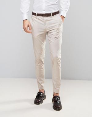 ASOS Желтовато-серые брюки скинни из эластичного хлопка. Цвет: серый
