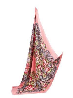 Платок с павлопосадским узором и бахромой, 96 x cm Nothing but Love. Цвет: розовый, красный, салатовый