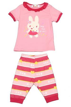 Комплект: футболка, бриджи Kidly. Цвет: розовый