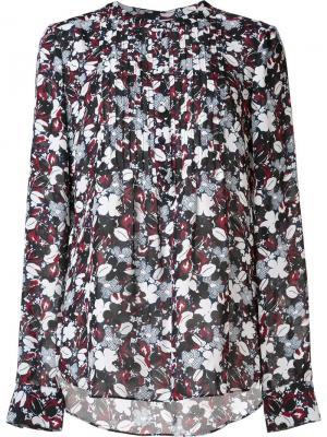 Рубашка с цветочным принтом Veronica Beard. Цвет: чёрный