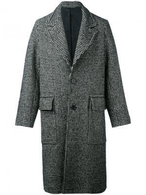 Пальто в ломаную клетку Ami Alexandre Mattiussi. Цвет: чёрный