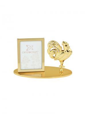 Фоторамка  Петух золотистого цвета с кристаллами CRYSTOCRAFT. Цвет: золотистый
