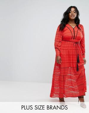 Elvi Кружевное платье макси. Цвет: красный