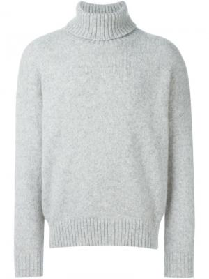 Объемный свитер с высокой горловиной Ami Alexandre Mattiussi. Цвет: серый