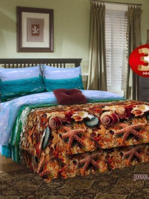 Комплект постельного белья, 1,5-сп, бязь, пододеяльник на молнии Letto. Цвет: голубой, бежевый, коричневый