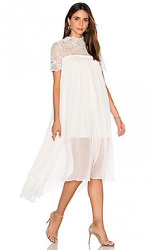 Шелковое платье макси camelia Lover. Цвет: белый