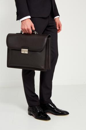 Кожаный портфель коричневый Canali. Цвет: коричневый