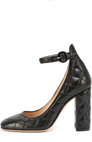 Кожаные стеганые туфли Greta Driver Gianvito Rossi. Цвет: черный