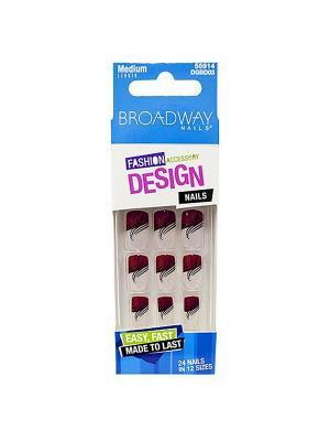 Broadway Набор накладных ногтей без клея, средней длины Фэшен дизайн 24шт Kiss. Цвет: бордовый, прозрачный