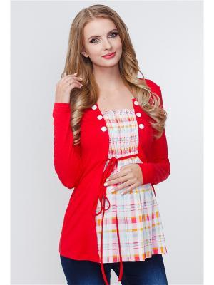 Блузка TUTTA MAMA. Цвет: красный, белый