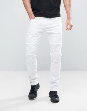 Sixth June Байкерские джинсы скинни. Цвет: белый