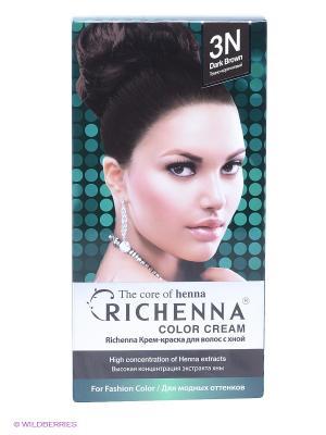 Крем-краска для волос с хной № 3N (Dark Brown) Richenna. Цвет: темно-коричневый