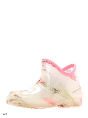 Резиновые полусапожки из поливинилхлоридной композиции женские. BRIS. Цвет: молочный, бледно-розовый