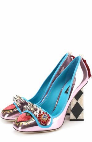 Туфли Jackie из металлизированной кожи с декоративной отделкой Dolce & Gabbana. Цвет: розовый