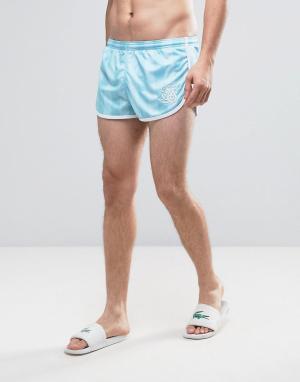 SikSilk Голубые шорты для плавания в стиле ретро. Цвет: синий