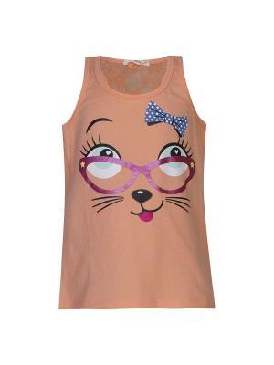 Майка-топ для девочек FOX. Цвет: персиковый