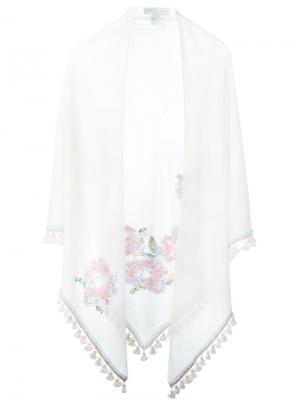 Шарф с вышивкой Giada Benincasa. Цвет: белый