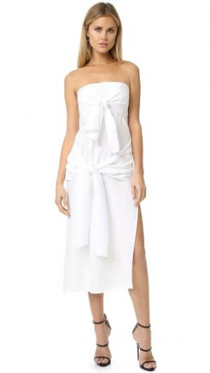 Миди-платье Ready or Knot в стиле бандо Shakuhachi. Цвет: белый