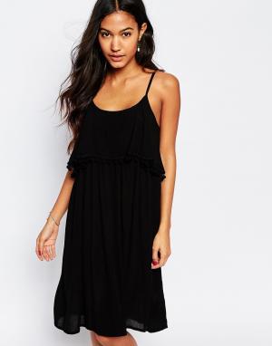 Akasa Пляжное платье с помпонами сзади. Цвет: черный